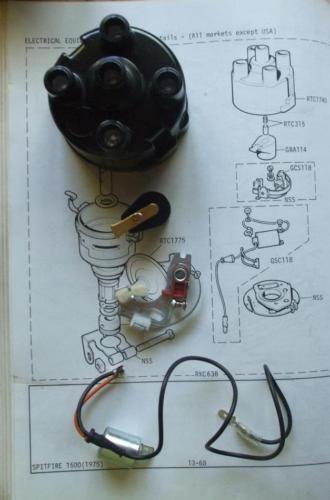 Morris Marina Ital Distributeur Bouchon Points Bras du Rotor Condenseur Allumage Kit 1973