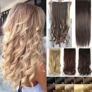 Neu-Ein-Tressen-Clip-In-Hair-Extensions-Haarverlaengerung-DE-Haare-Synthetik-Lang