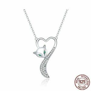 Echte-925-Silber-Halskette-kleiner-Fuchs-Tier-Anhaenger-Frauen-Luxus-Schmuck-NEU