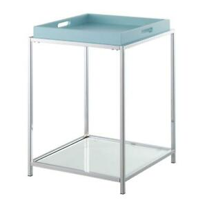 Convenience Concepts Palm Beach End Table in Clear Glass and Chrome Metal Frame
