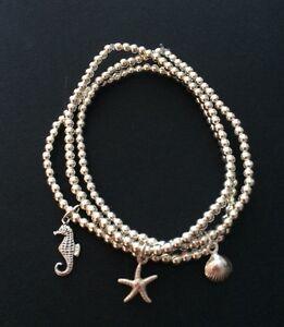 Image Is Loading 3 Sterling Silver Beaded Stretch Bracelets Triple