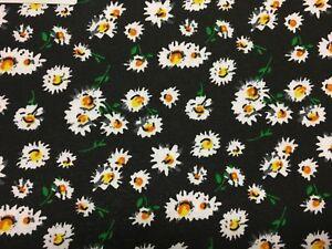 Coupon De Tissu Pur Coton Dessin Petites Fleurs Fond Noir 3 00 M