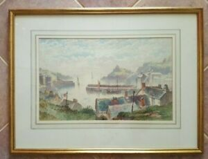 HARRY-J-WILLIAMS-Watercolor-Signed-amp-Dated-1885-034-England-Coastal-Town-034