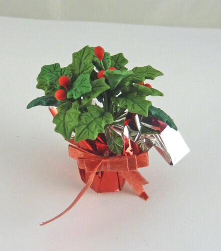 Dollhouse Miniature Festive Holiday Holly in Foil Pot A302
