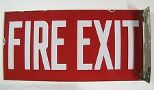 Orig Old FIRE EXIT Porcelain Double Sided Flange Sign firefighting rescue advert