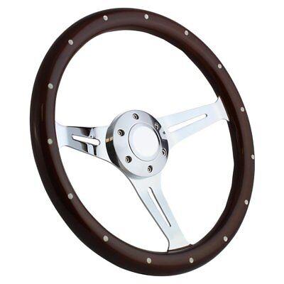 Wood /& Black Billet Steering Wheel Kit Flaming River Ididit or GM-style Column