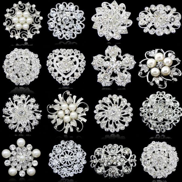 Rhinestone Crystal Faux Pearl Wedding Bridal Bouquet Silver Flower Brooches Pins