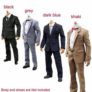 """1//6 White Shirt Khaki Suit Pants Clothes Set For 12/"""" Hot Toys Action Figure"""