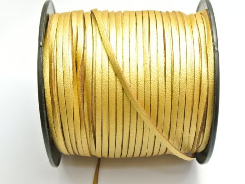 100 Yards Gold Single Side Faux Suede Flat Leather Cord Lace String 3mm