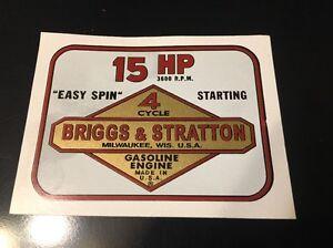Briggs & Stratton  Jacobsen Toro 15-hp decal set of 6
