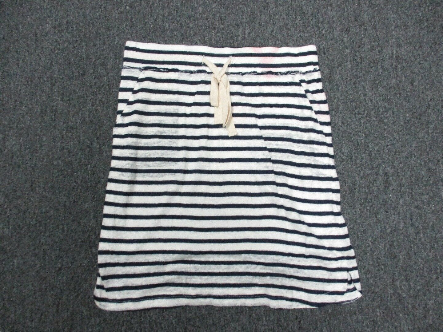 THML Navy Striped Drawstring Above Knee Length Skirt Sample NWT Sz S CC6595