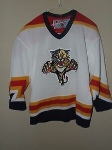a60ca0f96 CCM Youth L XL Florida Panthers Hockey Jersey NHL Stitched Offiicial ...