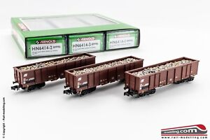 Arnold-hn6414-N-1-160-Set-3-goods-WAGONS-WITH-LOAD-Scrap-FS-Model-eaos-and