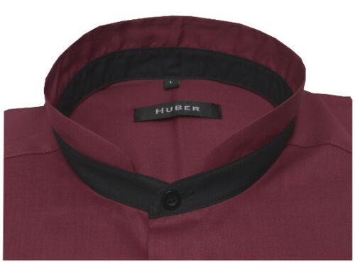 Huber collo alla coreana Camicia Rosso//Vinaccia contrasto nero manica lunga hu-0455 regular fit
