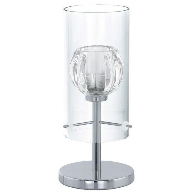 EGLO Ricabo Lampe design de table chevet verre chrome ampoule G9 fournie 33w