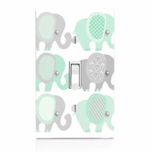 Details About Elephant Grey Green Nursery Light Switch Cover Kitchen Decor Bedroom S