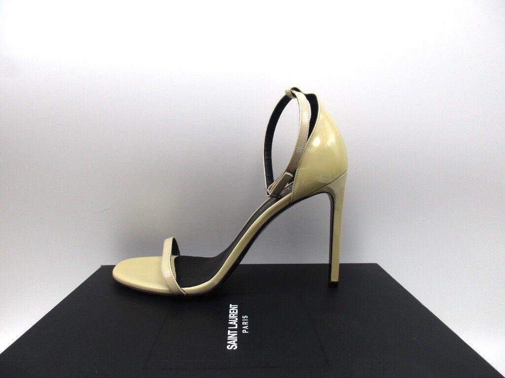 Saint Laurent Jane 105 Nude Powder Patent Ankle Strap Sandals Shoes 39.5 9.5