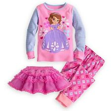 DISNEY STORE SOFIA FIRST DELUXE PJ'S WITH TUTU GIRLS SIZE 4 GLITTER ACCENTS NWT