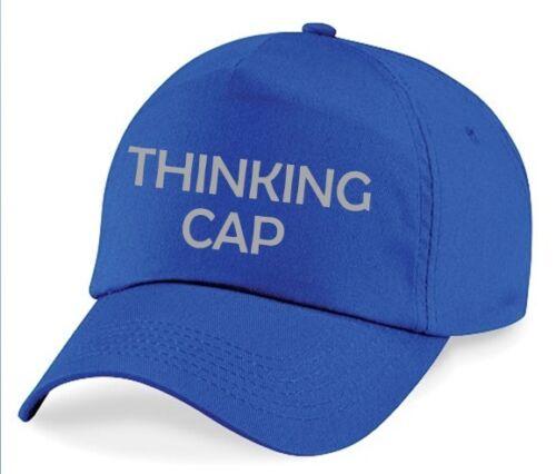 THINKING CAP Printed Baseball Hat Royal Blue Funny Joke Geeky Nerdy Grey Print