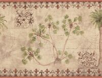 Wallpaper Border Tropical Palm Trees With Vintage Map