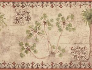 Wallpaper-Border-Tropical-Palm-Trees-With-Vintage-Map