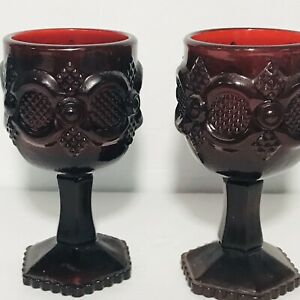 Avon-Cape-Cod-1876-Ruby-Red-4-1-2-inch-Tall-Wine-Glass-Set-of-2-Vintage