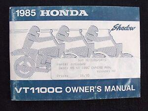 GENUINE-1985-HONDA-1100-SHADOW-VT1100C-MOTORCYCLE-OPERATORS-MANUAL-VERY-GOOD