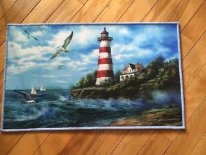 Lighthouse Sailboat Nautical By The Seaside Kitchen Mat