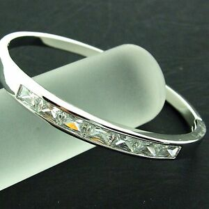 FS413-GENUINE-REAL-18K-WHITE-G-F-GOLD-SOLID-DIAMOND-SIMULATED-HINGED-CUFF-BANGLE