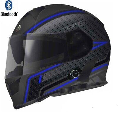 Bluetooth Motorcycle Helmet TORC Full Face Dual Visor Blue Scramble DOT
