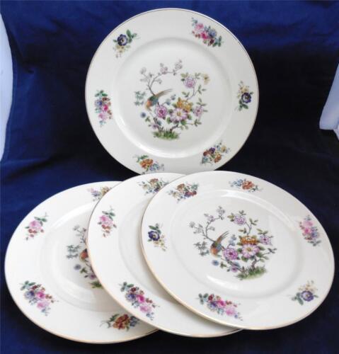 "Vintage Rosenthal Continental Ivory Bavaria 4 Dinner Plates 10.25/"" Bird Floral"