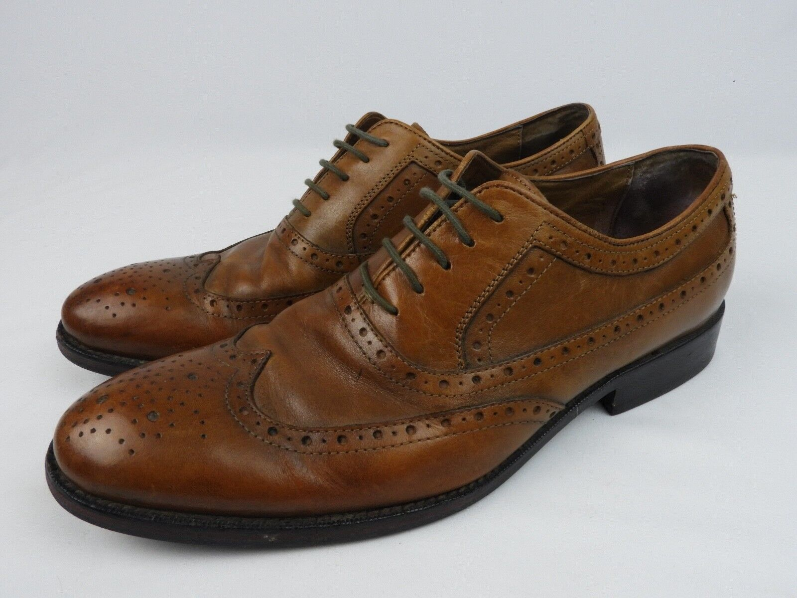 Johnston Murphy Tobacco Brown Wingtip Oxford shoes Size 8.5 M VG condition