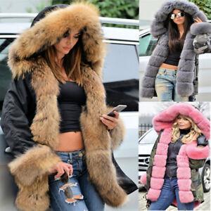 NEW Women/'s Warm Long Coat Fur Collar Hooded Jacket Slim Winter Parka Outwear=