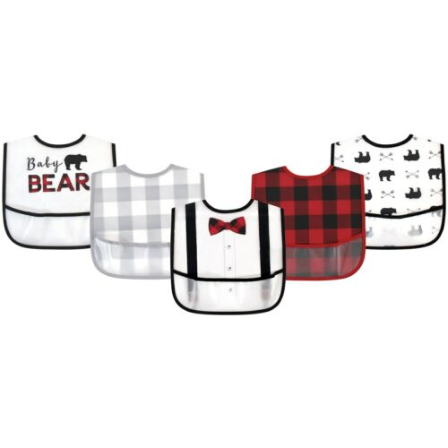 One Size Little Treasure PEVA Bibs 5pk Baby Bear