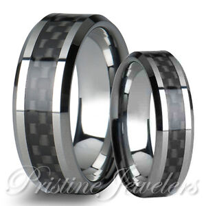 Image Is Loading His Amp Her Silver Tungsten Carbide Men Black
