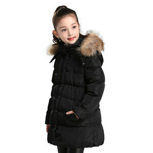 f92abb941 Girls Winter Down Jacket Thick Hooded Outwear Coat Fur Collar Child ...