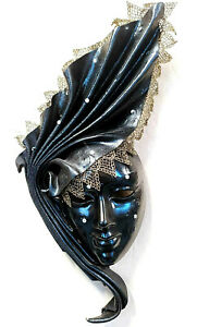 Fiamma Nera - Maschera di carnevale veneziana in cartapesta, cuoio e macramè