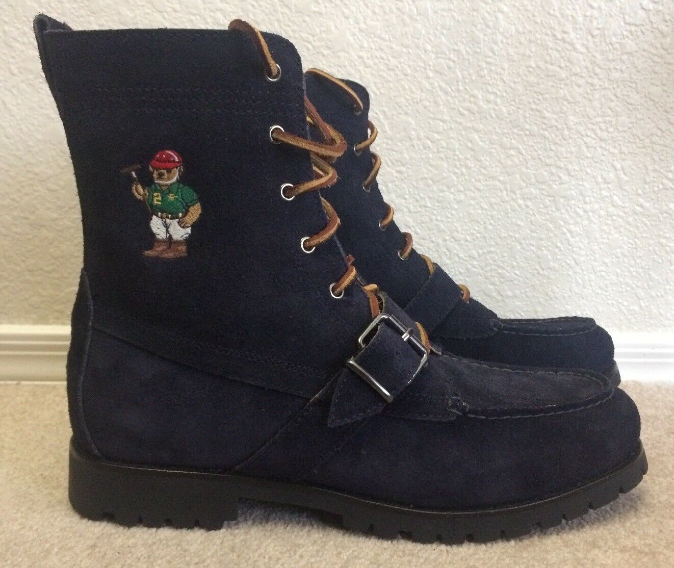 Polo Ralph Lauren boot mens Sz 11 bluee Suede Bear Ranger B II Moccasin Lug Sole