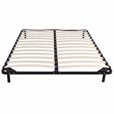 79'' 8Wood Slat Metal Platform Base Foundation Bed Frame Adjustable SupportQueen