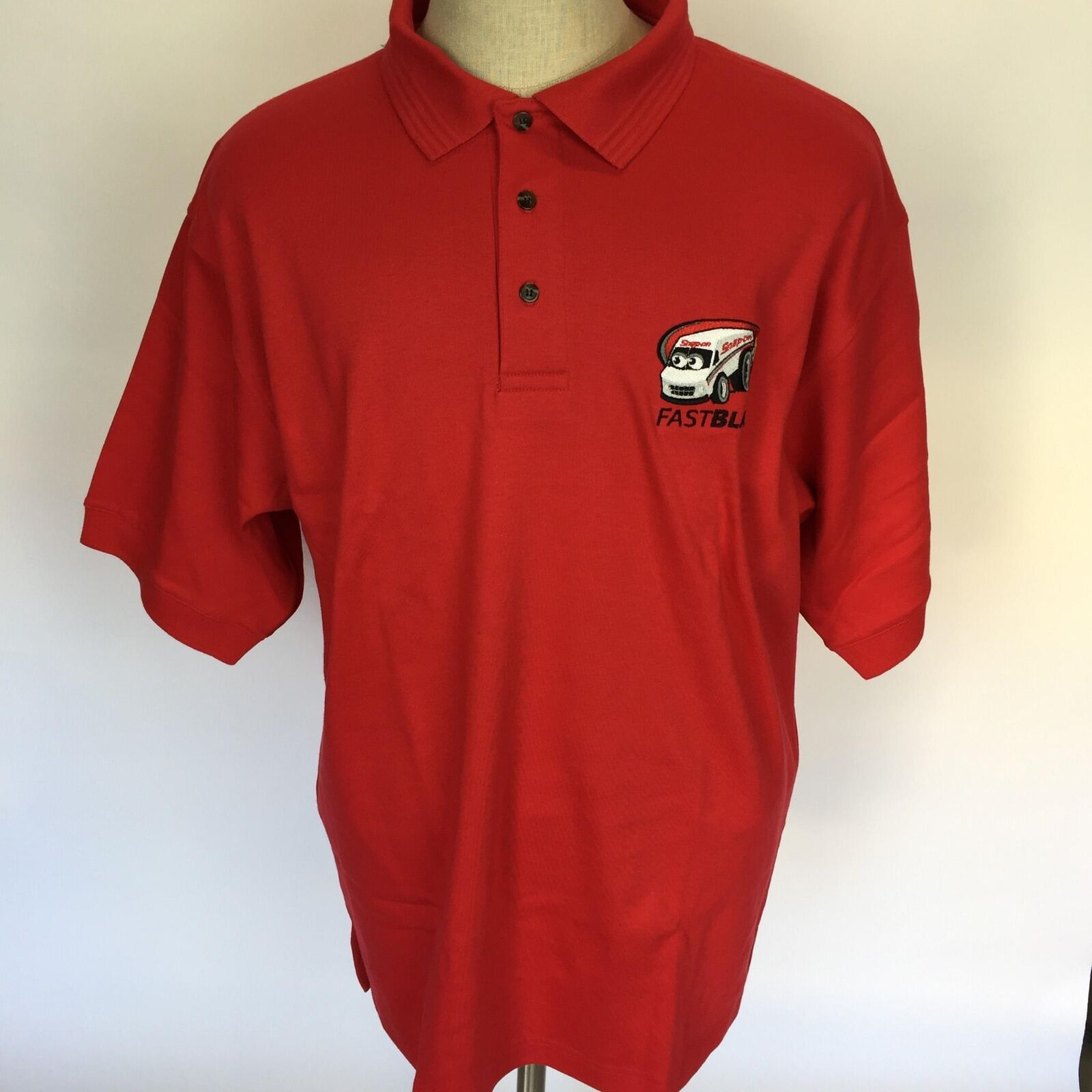 NWT Swingter Snap On Men's Fast Bus Red Polo Shirt XL Mechanic Tools Garage