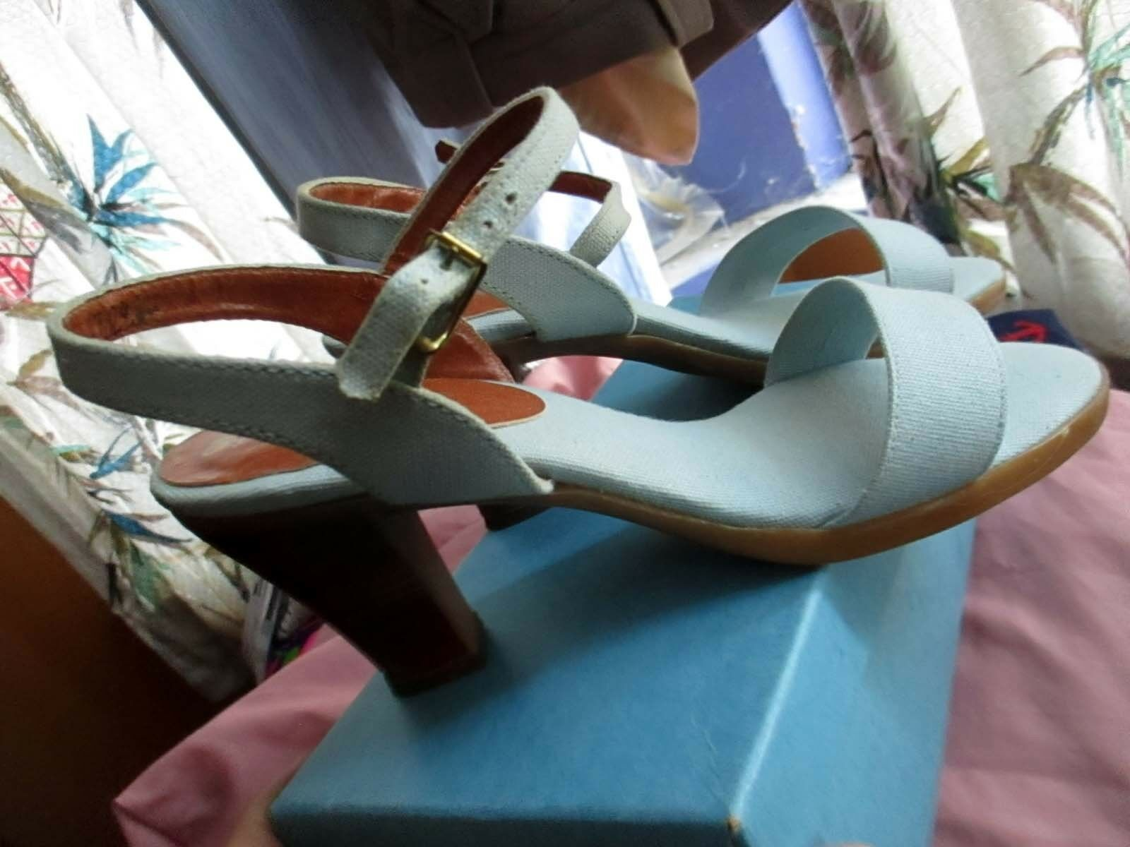7.5 M True Vtg 70s Baby bluee Strappy Slingback Disco Heels shoes ANIMATO