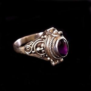 Handmade-Solid-925-Sterling-Silver-Bali-Faceted-Amethyst-Poison-Pill-Box-Ring
