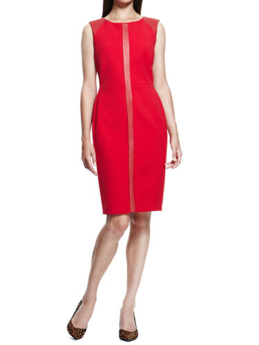 New Ladies Ex M/&S Office Party Red Dress Faux Leather Panelled Size 8-22 RRP £89