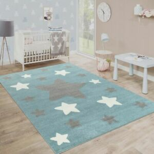 Modern Kids Rug Blue Nursery Carpet