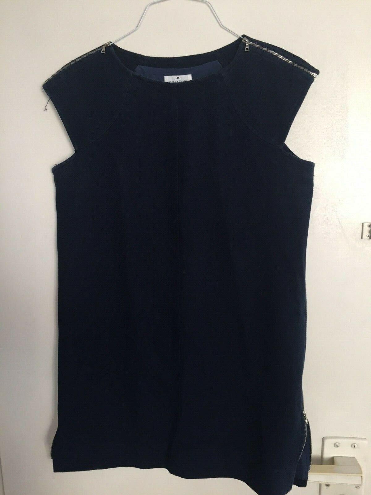 COURREGES,superbe robe bluee marine en cotton size 42