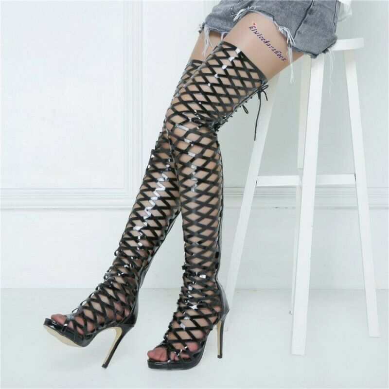 Size 36-47 Knee High Boots Women Lace Up Open Toe Gladiator Back Zipper shoes