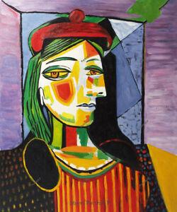 Pablo-Picasso-Spanish-Artist-Oil-Painting-on-Canvas-Femme-au-Beret-Rouge-20x24