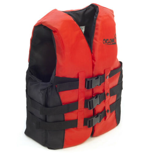 RED KAYAK CANOE WATERSPORTS BUOYANCY FLOAT AID IMPACT LIFE JACKET PFD VEST