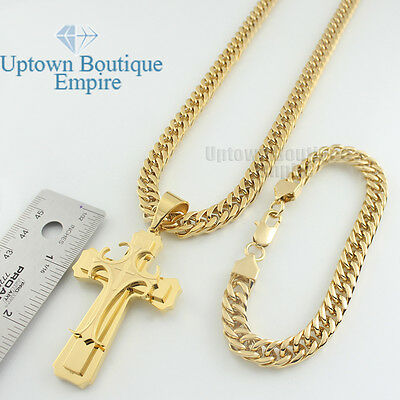 "24"" men stainless steel gold heavy cross pendant miani cuban necklace chain link"