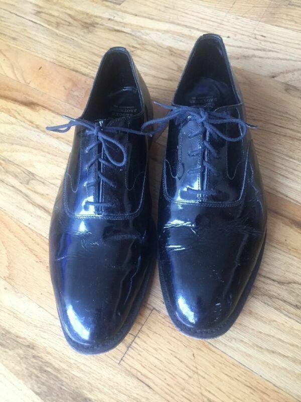 VINTAGE  Brooks Brossohers Peal &F Co. nero Patent Leather Lace Up Formal 11D  100% nuovo di zecca con qualità originale